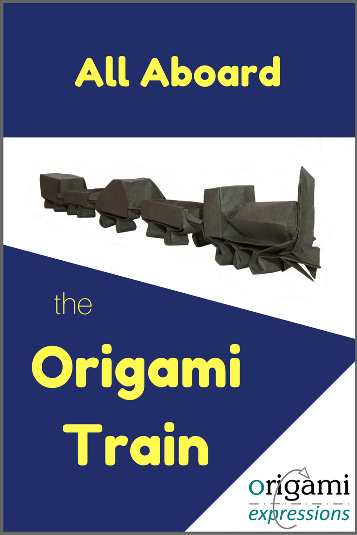 Want to make Mooser's Train? It's an advanced origami model. Check out the post for tips on folding, paper recommendations, and where to find the origami train instructions. | Origami Train | Origami Train Tutorial | Origami Train How to Make | Paper Train Model | Paper Train Craft #origamitrain via @origami_express