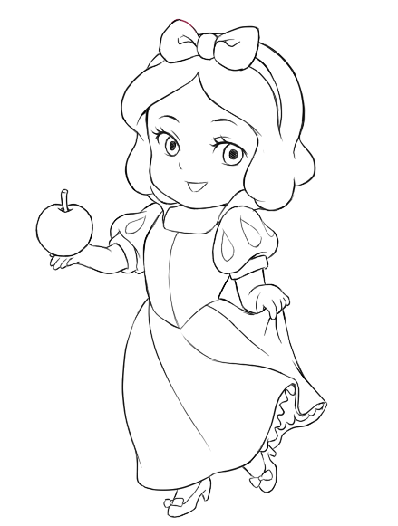 Chibi Snow White Chibi Snow White Lines Chibi Snow Princess Coloring Pages Baby Rapunzel Printable
