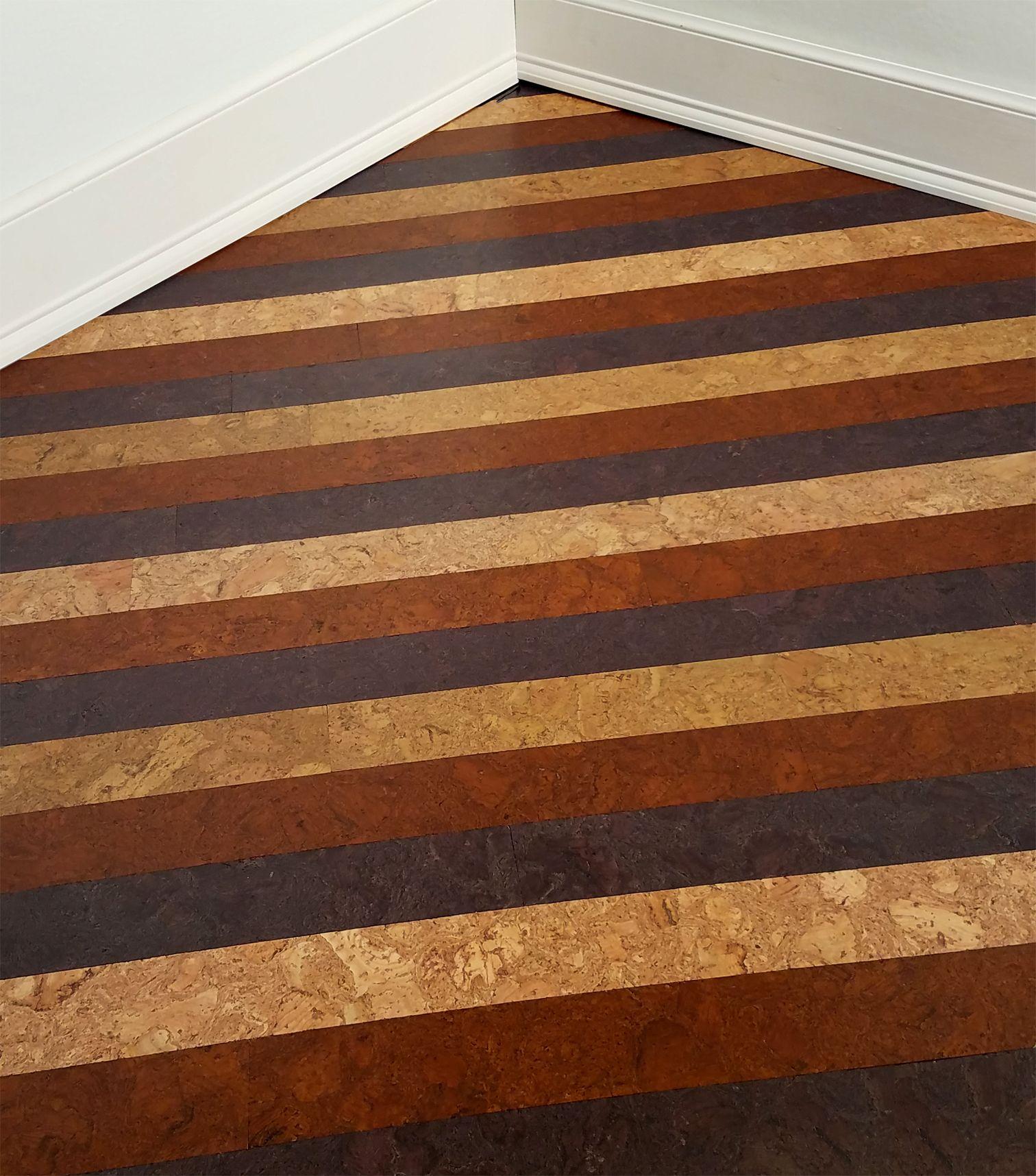 3 Steps 1 Beautiful New Wood Floor Our 100 Cork Strip Installation Is As Easy As Glue Stick Finish Visit Mycorkfloor Com To Get Cork Wall Tiles Diy Wood Floors Diy Flooring