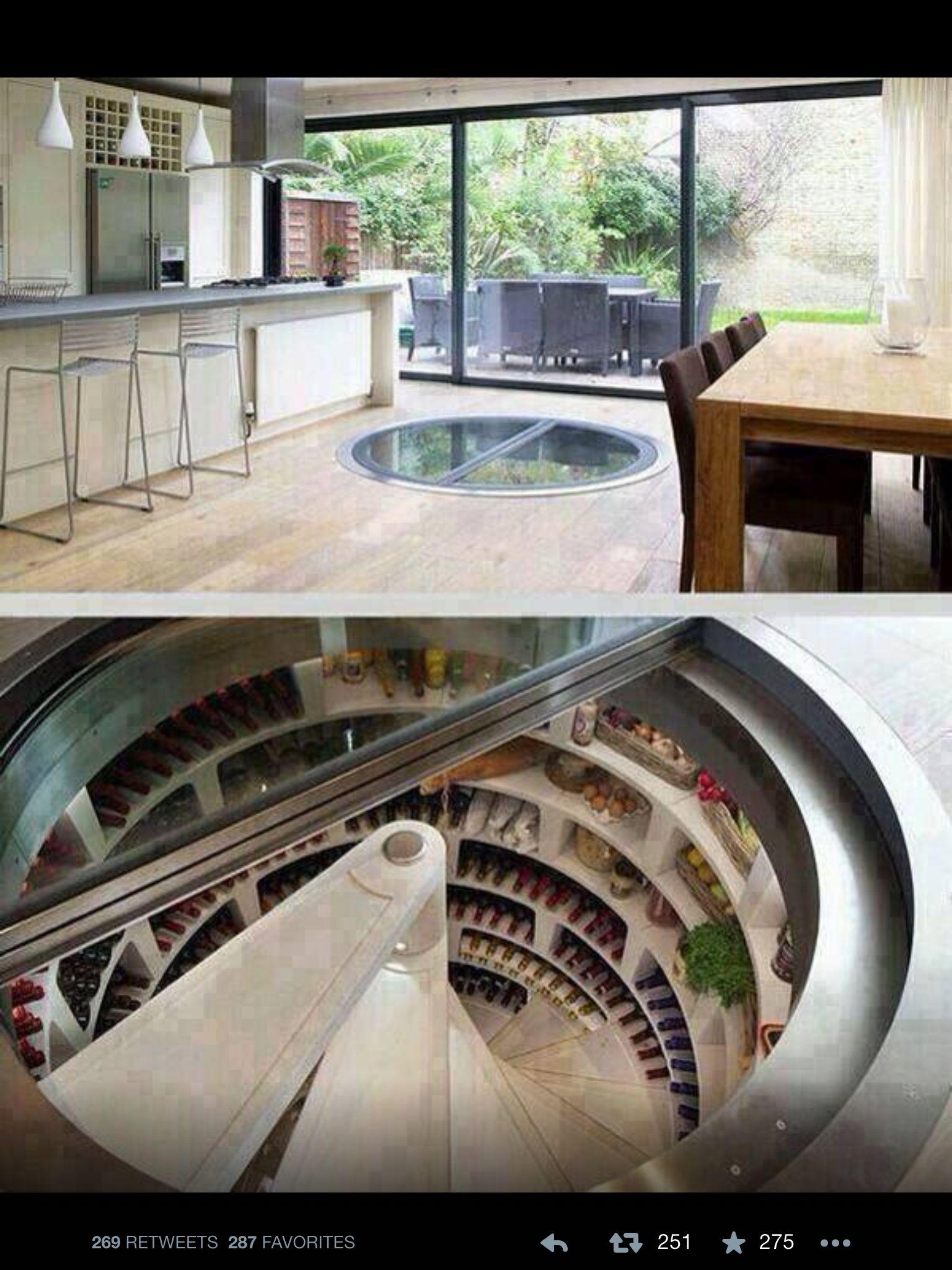 Wohnideen Verrückte kitchen with wine cellar and fridge house planning