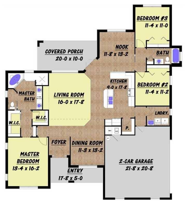 Plano de casa de 3 dormitorios y 200 metros cuadrados for Diseno de casa de 300 metros cuadrados