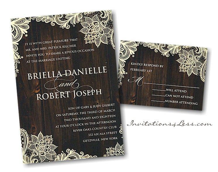 Wood and Lace Wedding Invitation