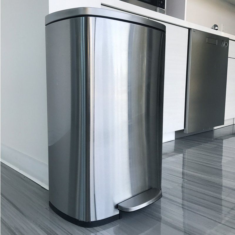 Deodorizer Softstep Stainless Steel 13 Gallon Step On Trash Can In