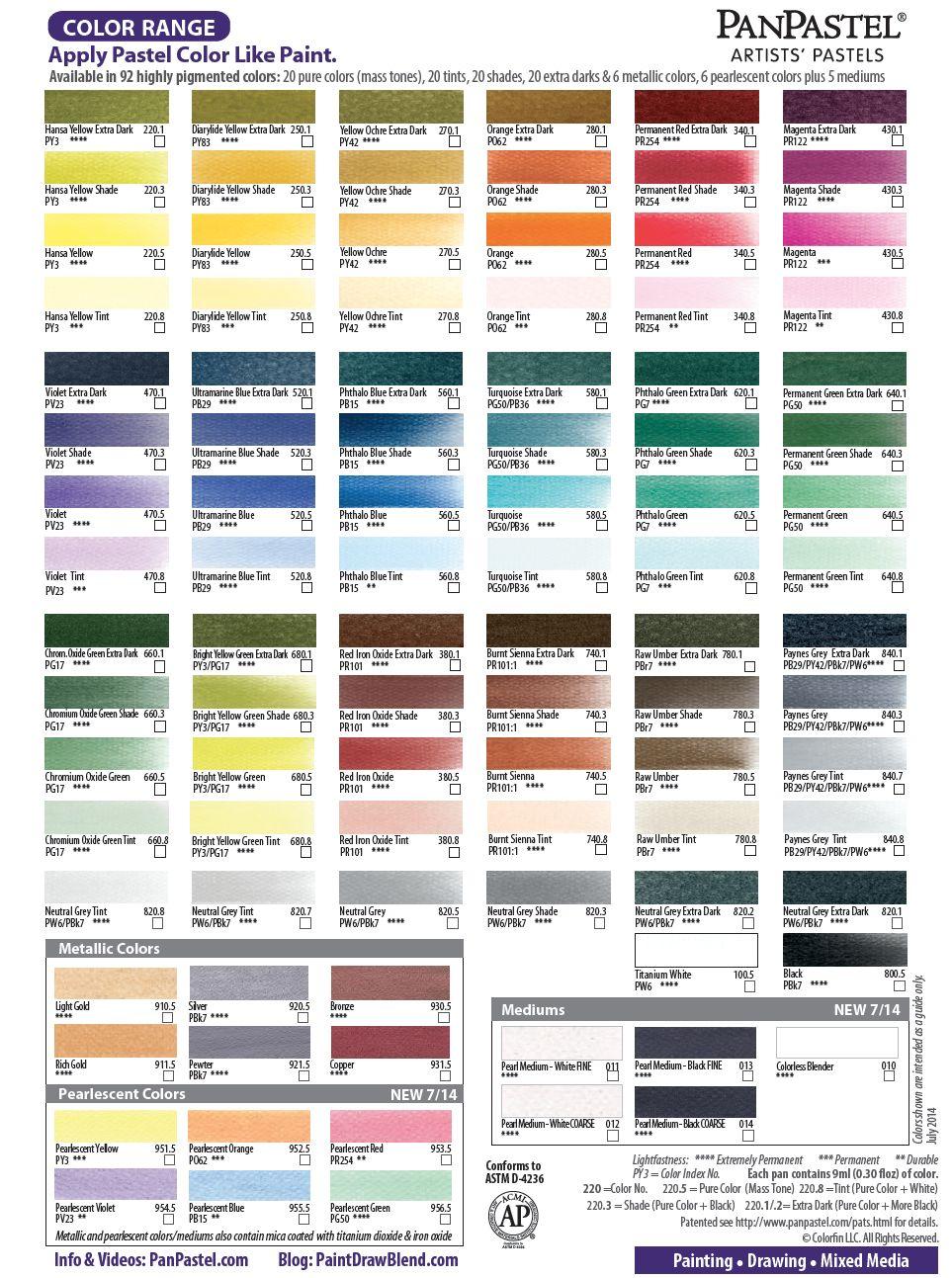 Downloadable Panpastel Color Chart Cc Pan Pastels Pinterest