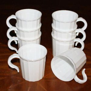 Box Of 96 White Plastic Coffee Mug Disposable Reuseable Drinking Cup With Handle