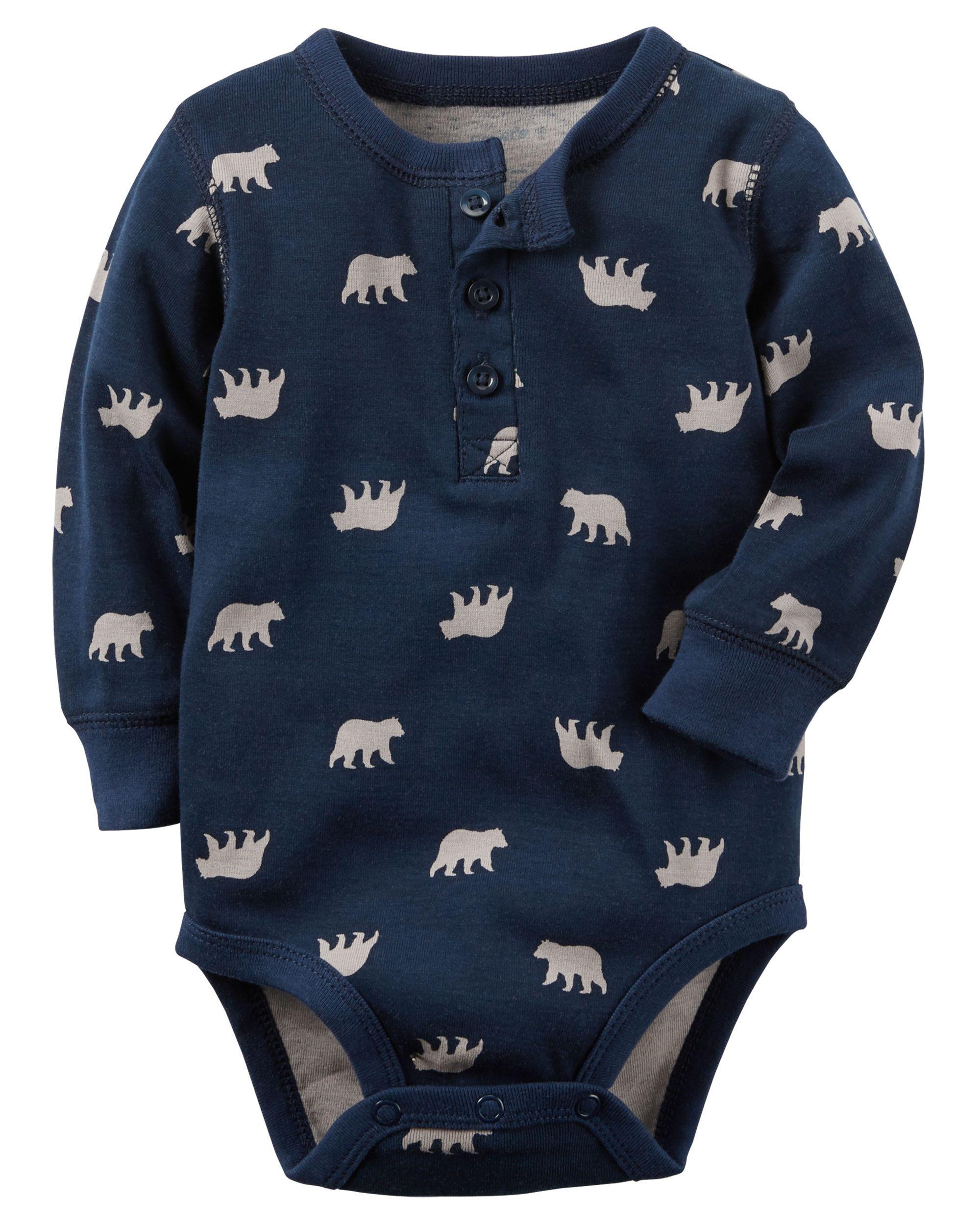 Baby Boy Animal Print Henley Bodysuit Carters Com Baby
