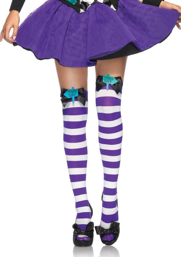 Sexy Mad Hatter Bow Top Striped Thigh Highs Stockings for Adult ...