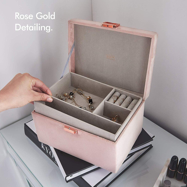 Amazon Com Beautify Blush Pink Velvet Jewelry Box Organizer And