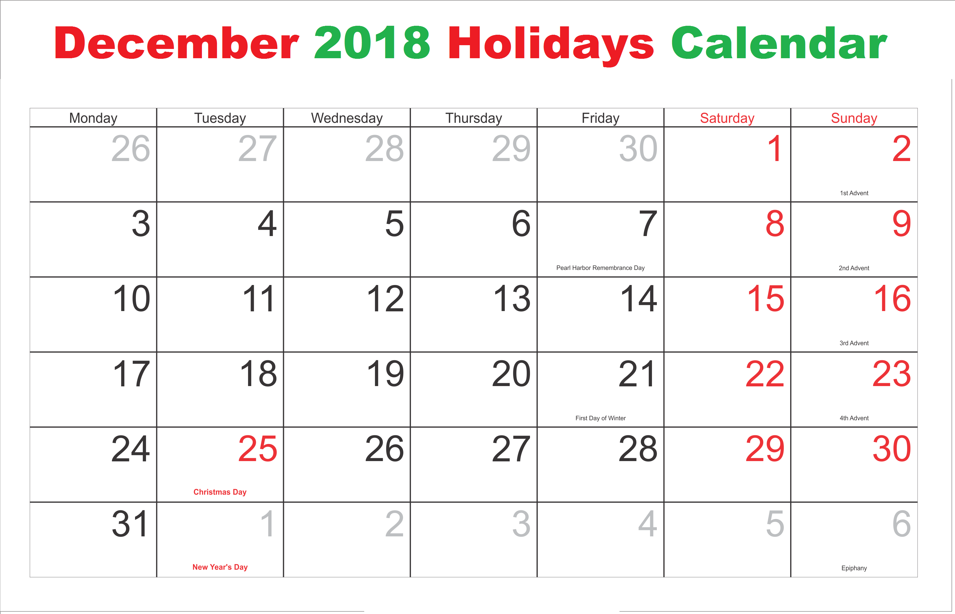 photograph about December Calendar Printable With Holidays known as December 2018 Calendar With Holiday seasons December 2018