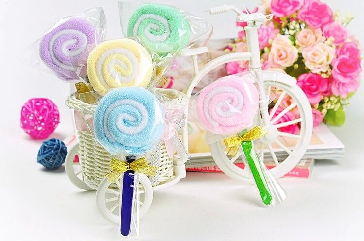 Cotton Lovely Lollipop Cake Towel Kids Birthday Party Gifts Baby