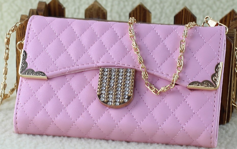 iPhone 5/5S, 4/4S - Stylish Quilted Purse Case With Chain Strap & Bling Magnetic Closure in Assorted Colors