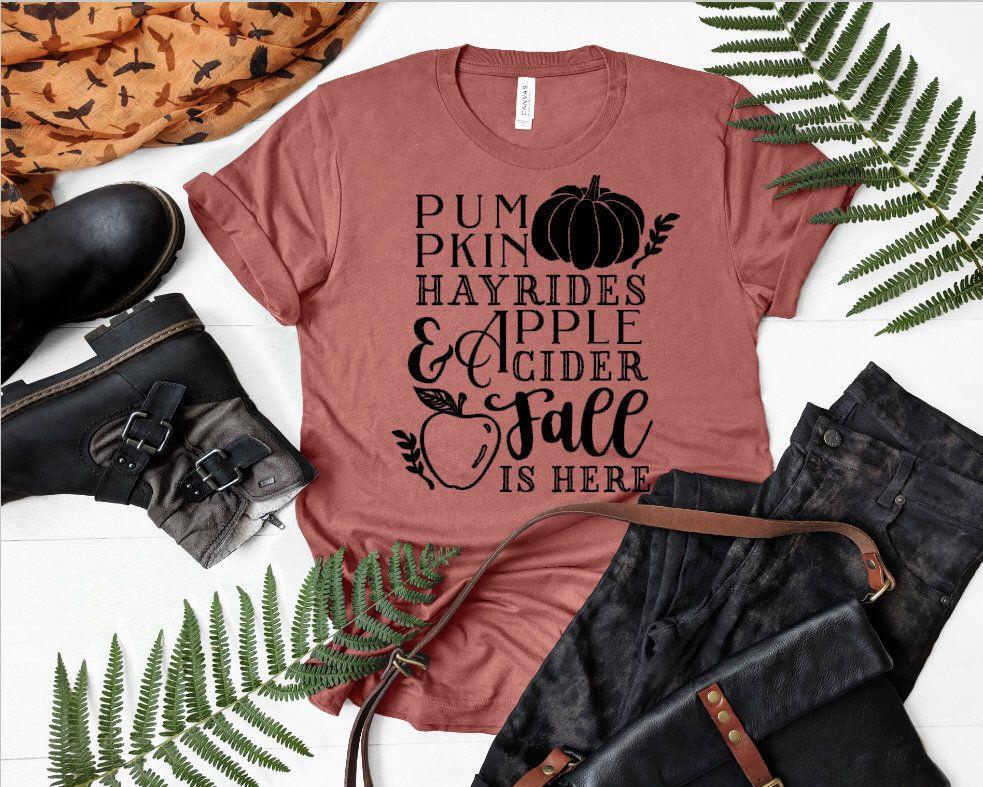 Womens Fall Tee pumpkins hayrides Shirt Super soft Bella