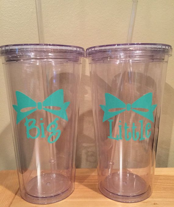Set of Insulated Cups with Bow Decal by TheInitialPlace on Etsy