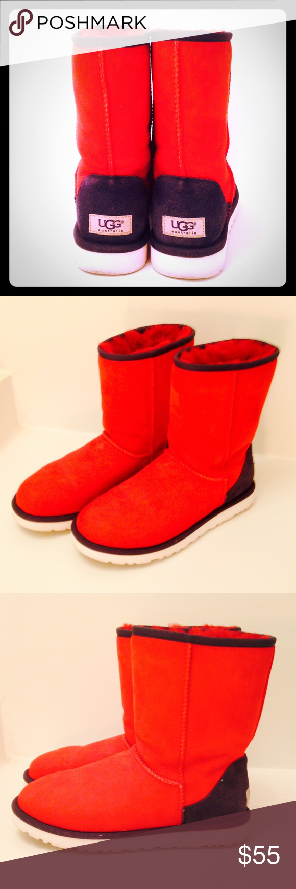 UGG boots UGG BOOTS (Gently used) Size: 7 Patriotic red, white, and blue short UGG boots. Keep your feet warm in the fall and winter months and look ...