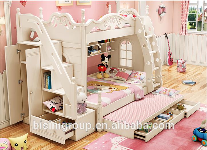 Source Bisini Wooden Kids Bunk Bed With Wardrobe Stairs Children