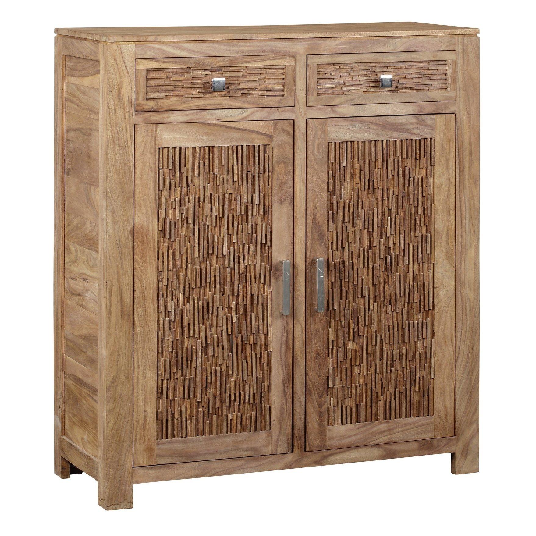 Bengal Manor Mango Wood 2 Drawer 2 Door Cabinet Brown Wood Cabinets Mango Wood Accent Cabinet