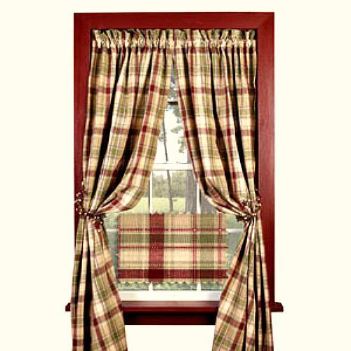 New Country Wine Burgundy Sage Green Tan Plaid Curtain Window Panels 63