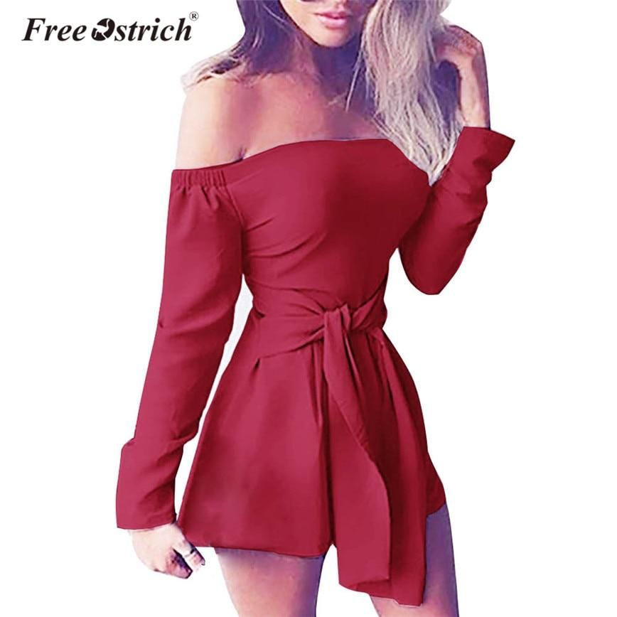 1ee1908461a Free Ostrich Long Sleeve Playsuits Women Off Shoulder Slash Neck Sashes Slim  Party Playsuit Short Mujer Black Bodycon D2435