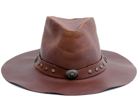 013ad4b35b9a68 Leather Fedora Hat Hippie Boho Hat Western Hat Cowboy Leather Hat Handmade  Hat