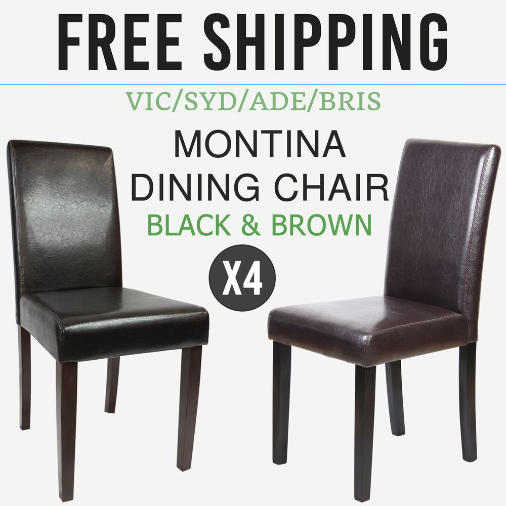 Dining Chair 4x Faux Leather Black Brown Back Rest Solid Pine Wood Legs Montina Ebay Dining Chairs Cheap Dining Chairs Faux Leather Dining Chairs