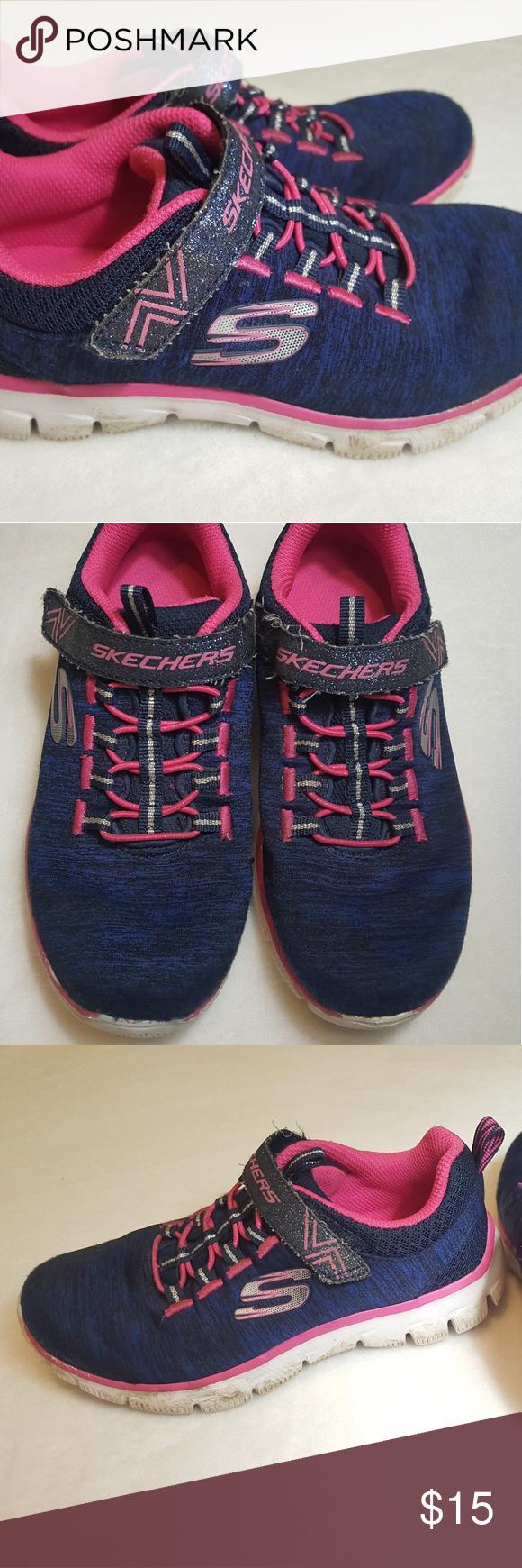 Skechers navy/pink girls sneaker size