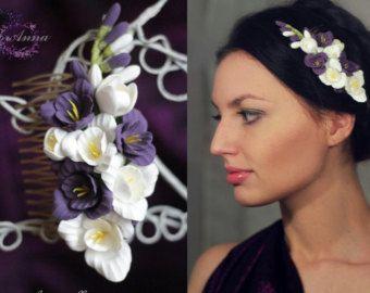 peine azul peine flor cosas de la boda la novia de por Mirobel