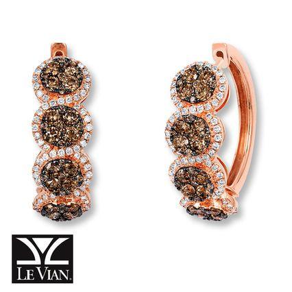 Le Vian Chocolate Diamond Hoop Earrings 1-3/8 ct tw 14K Gold E1FqlTa3j