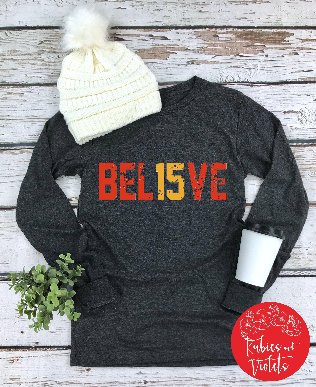 Chiefs Football Shirt/'BEL15VE' Shirt/Raglan/Kansas City Chiefs Football Shirt/BLING KC Shirt/Raglan