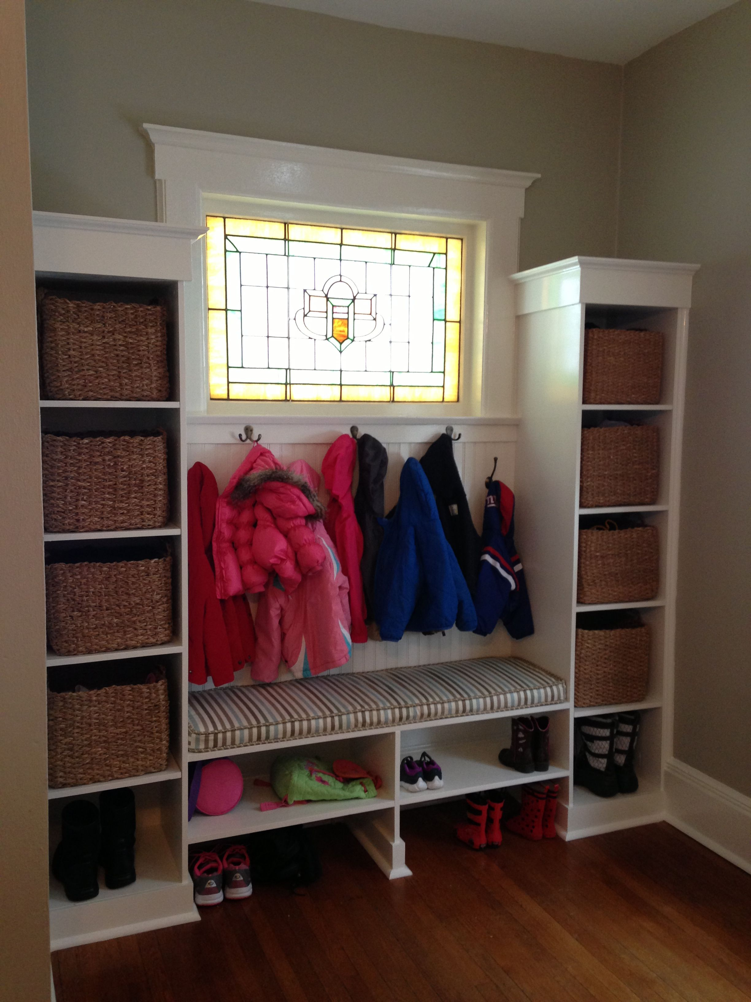 Mudroom Entry Locker System Built Using 2 Pre Fab Side Shelving Units Lots Of Moldings Bead Board Backer Handmade Bench With Lower Shoe Shelf And