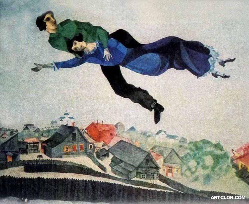 Marc chagall au dessus de la ville 1914 1917 arts for Marc chagall paris vu de ma fenetre
