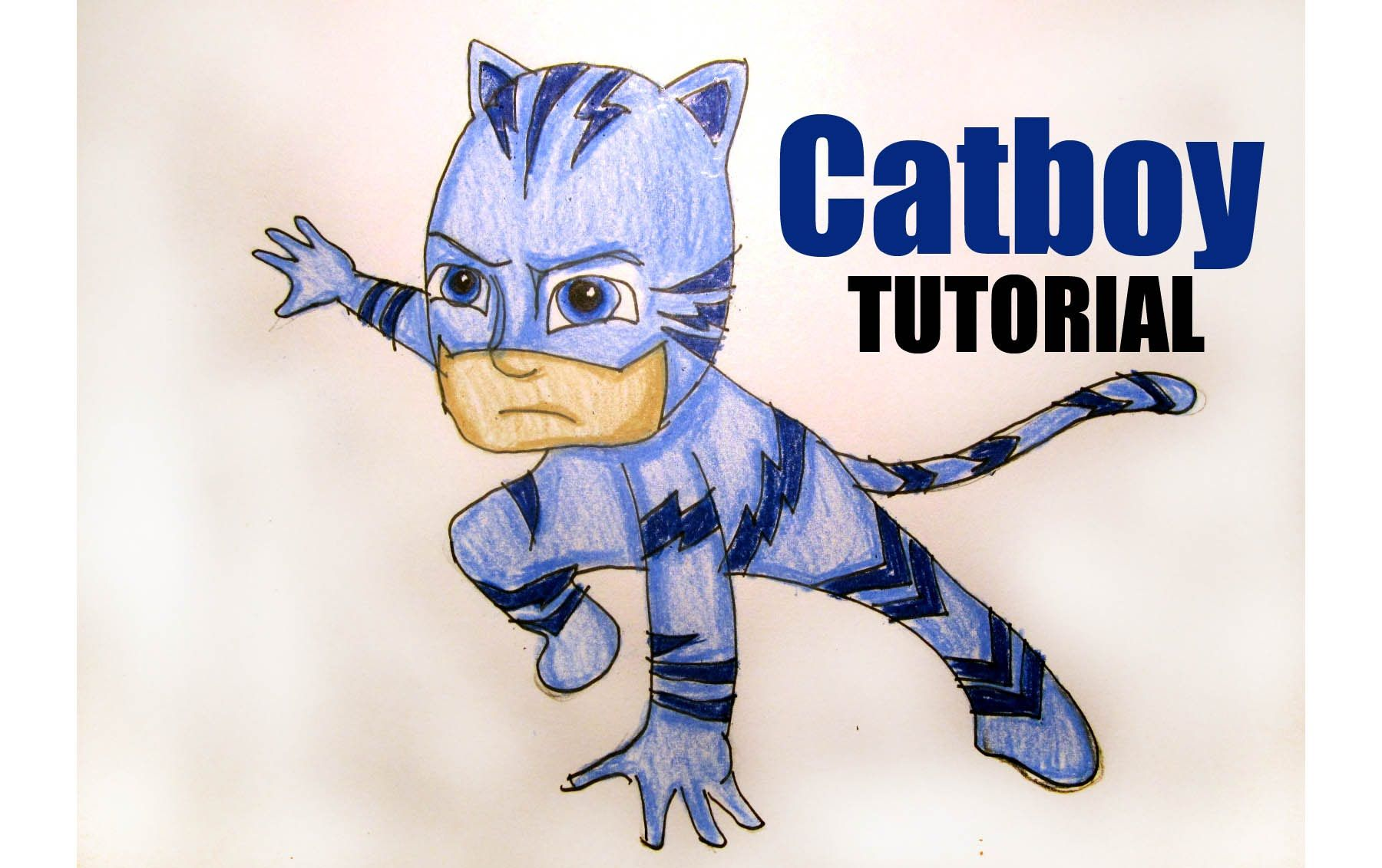 Cartoon Series:  How to Draw Disney Junior's PJ Masks Catboy.  Step by Step Drawing Tutorial