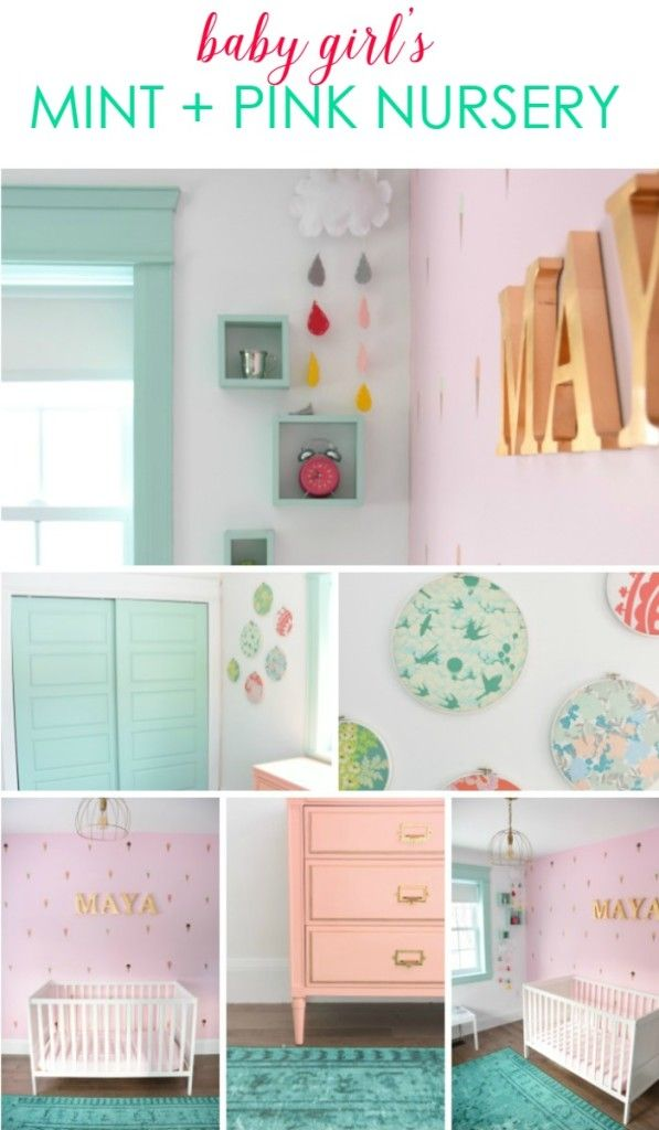 A Baby Girls Mint And Pink Nursery Gold rooms Girl nurseries