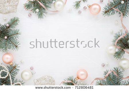 Holidays frame of new year`s decorations on white background. Fir ...