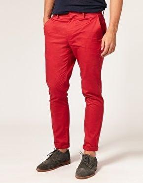 Rewardfab Smart Pin Reward Red Pants Men Red Chinos Slim Chino Pants