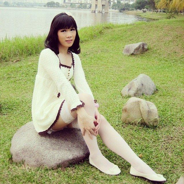 Watching outdoor crossdresser asian