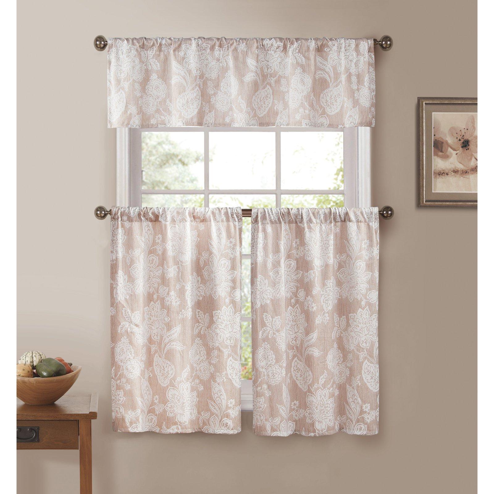 Duck River Ewva Linen Look Jacquard 3 Piece Kitchen Curtain Set