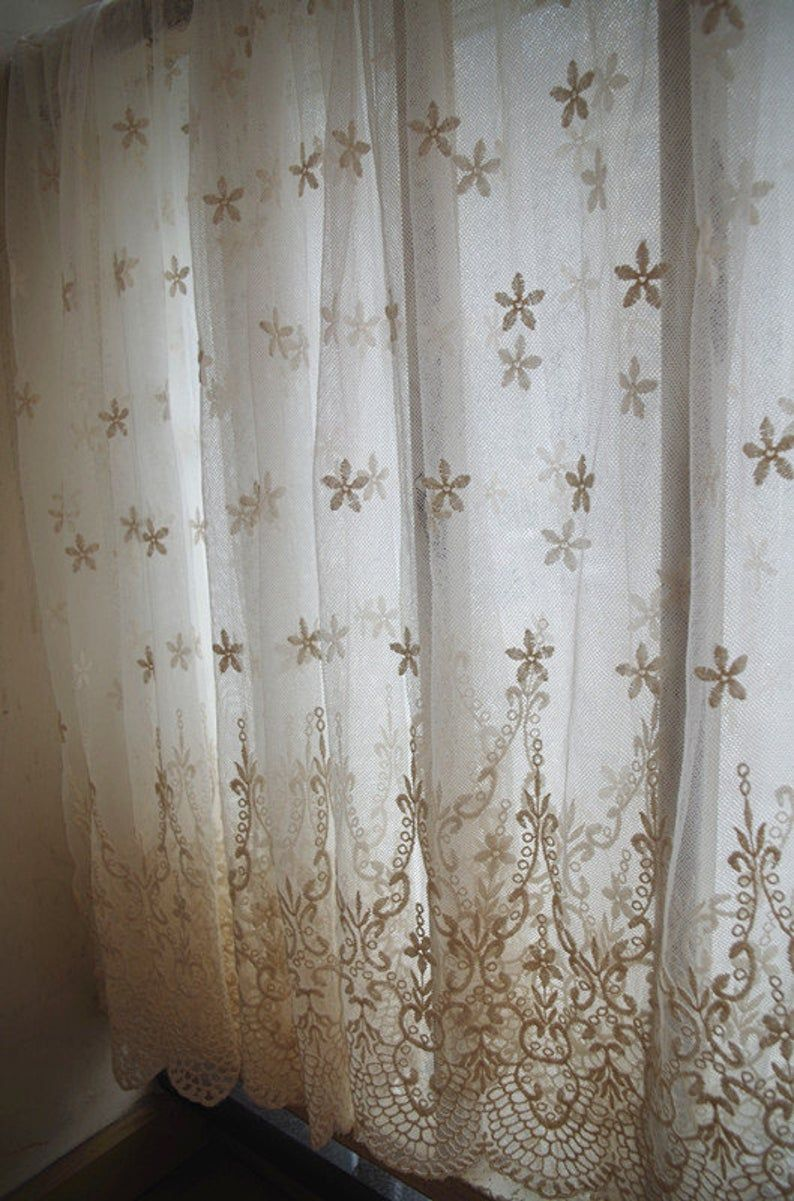 Ivory Lace Fabric Embroidered Tulle Lace Fabric Curtain Fabric