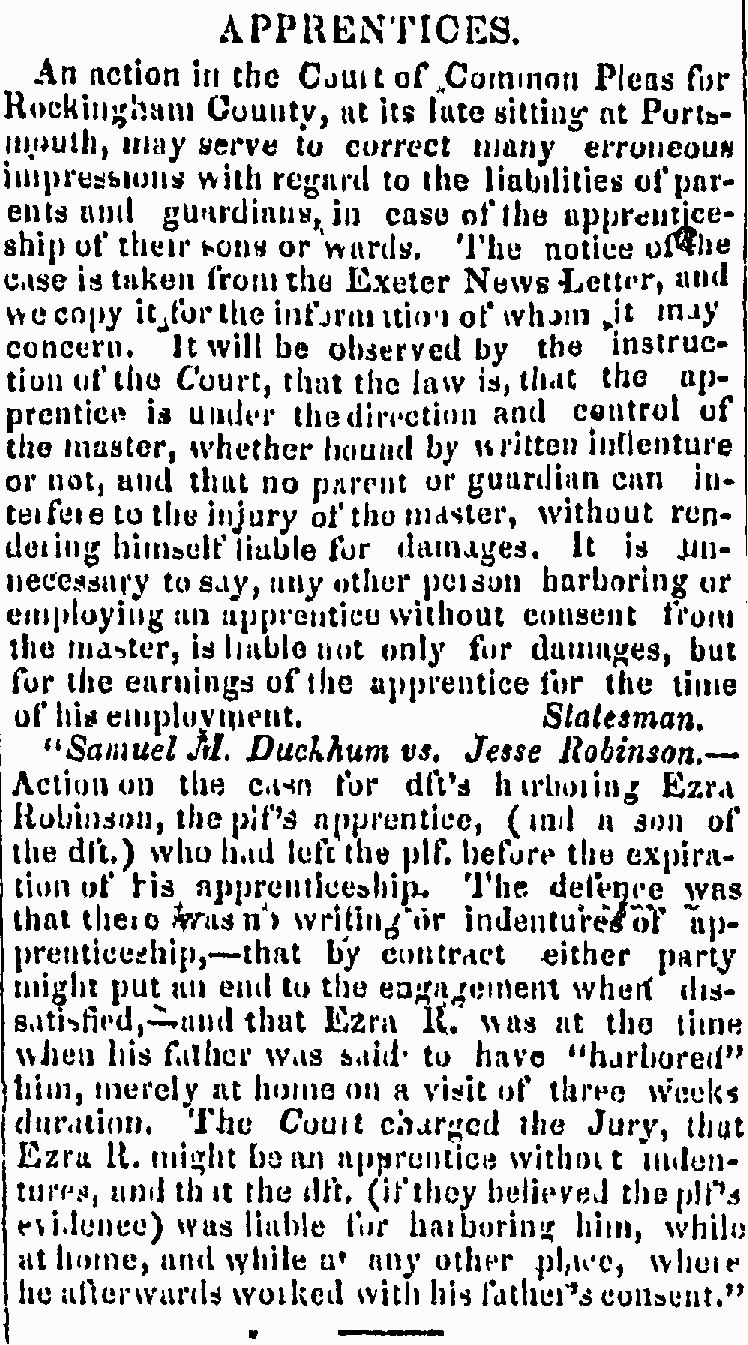 Article about indentured servants from Barre Gazette