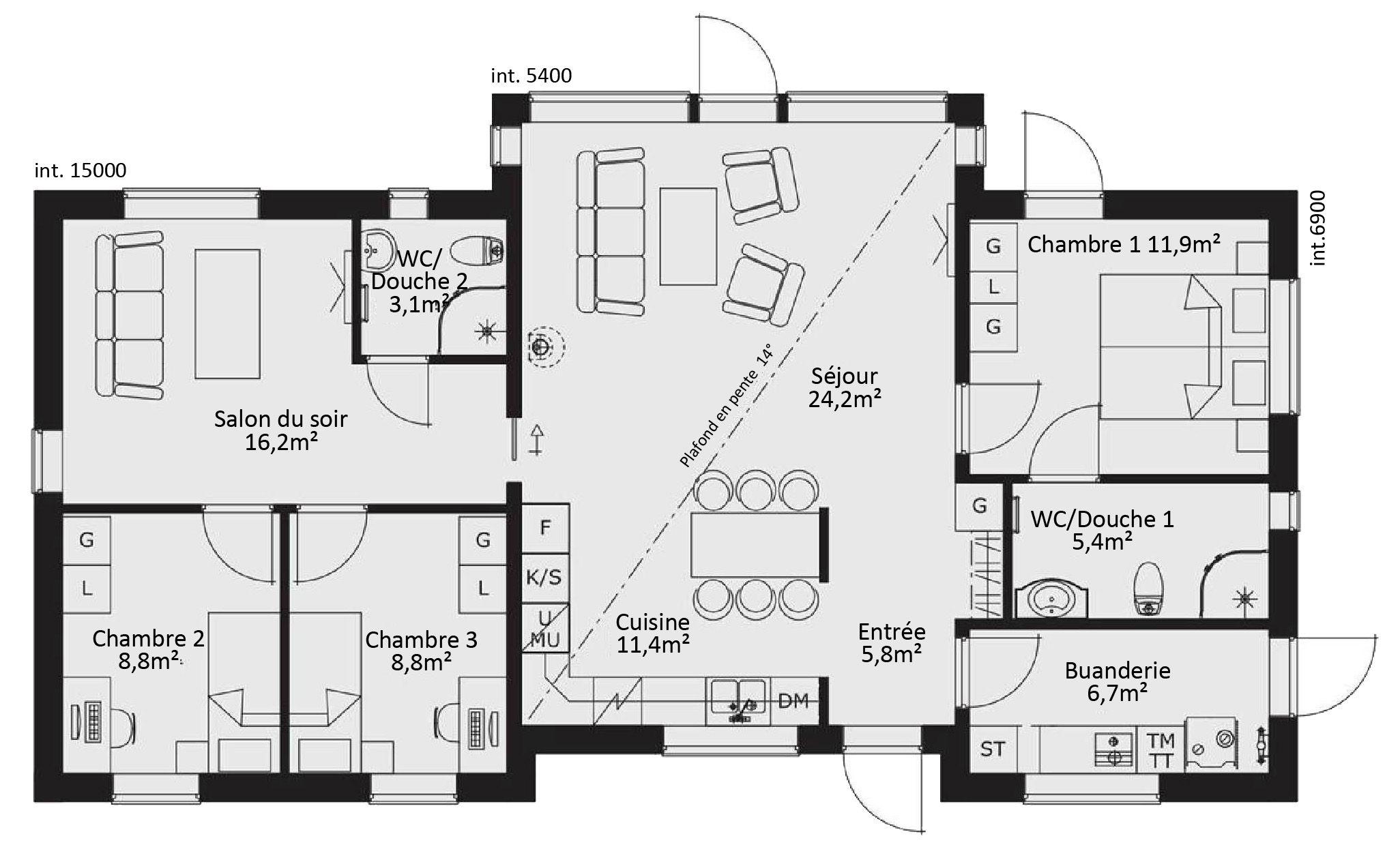 Plan Maison En L Plain Pied Gratuit Plan Maison Plan De Maison Gratuit Plan Maison 120m2