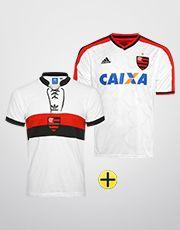 Kit Adidas Flamengo - Camisa II 14 15 + Camisa Retrô - Branco+Vermelho a7f39376ed7