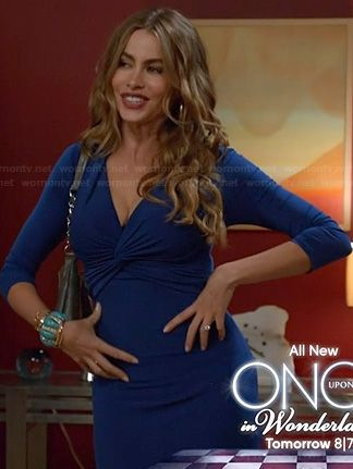 Gloria S Blue Twist Front Dress On Modern Family Twist Front Dress Family Outfits Modern Family Sofia Vergara