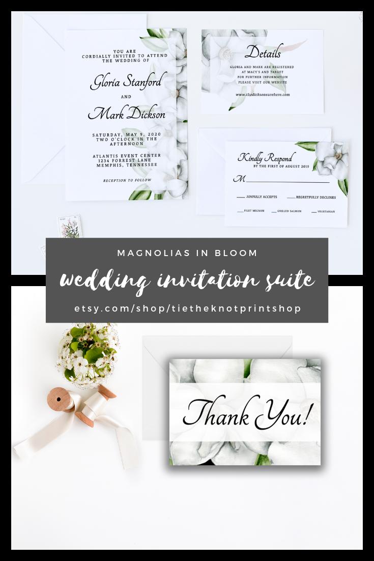 Magnolias In Bloom Wedding Invitation Suite Printables Our Wedding Invita Magnolia Wedding Invitations Wedding Invitation Suite Printable Wedding Details Card