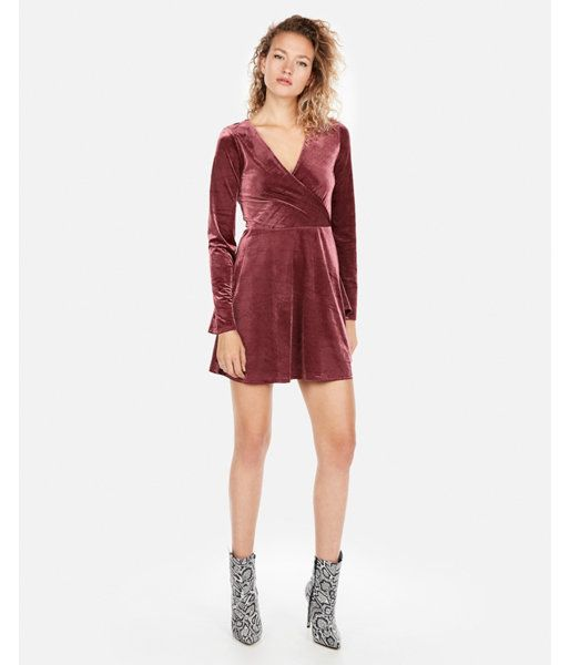 a41f1a47e5 Velvet Surplice Fit And Flare Dress Purple Women s XXS