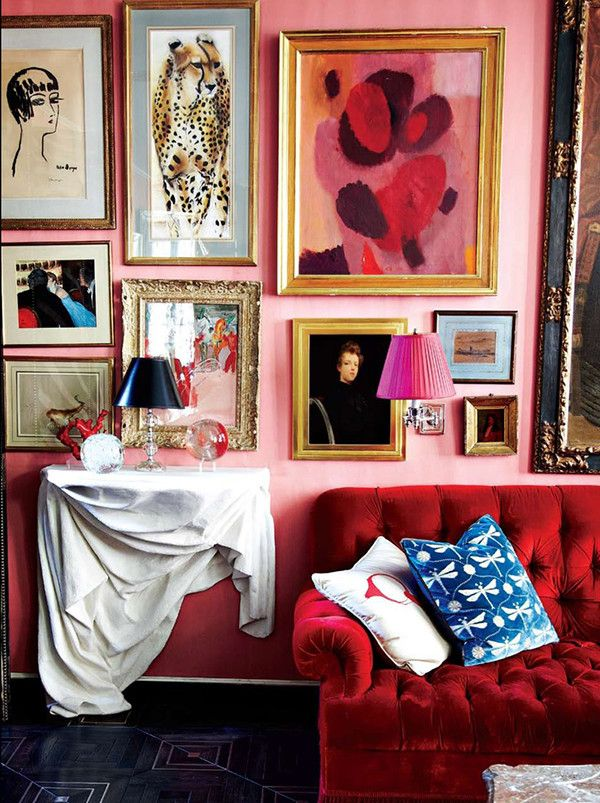 Miles Redd Red Sofa  Pretty And Pink  Pinterest  Gallery Wall Stunning Living Room Design Photos Gallery Design Ideas