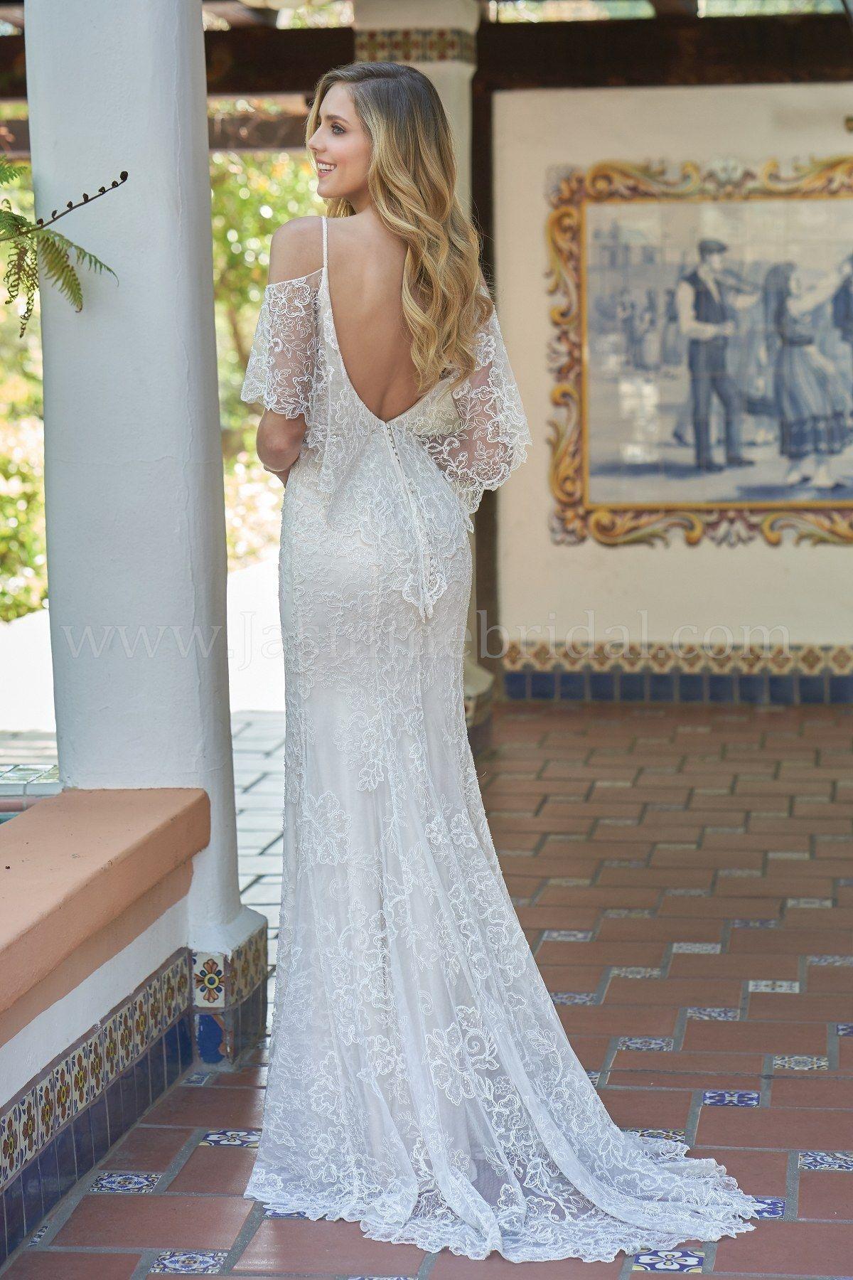 F vneck embroidered lace u silky jersey wedding dress