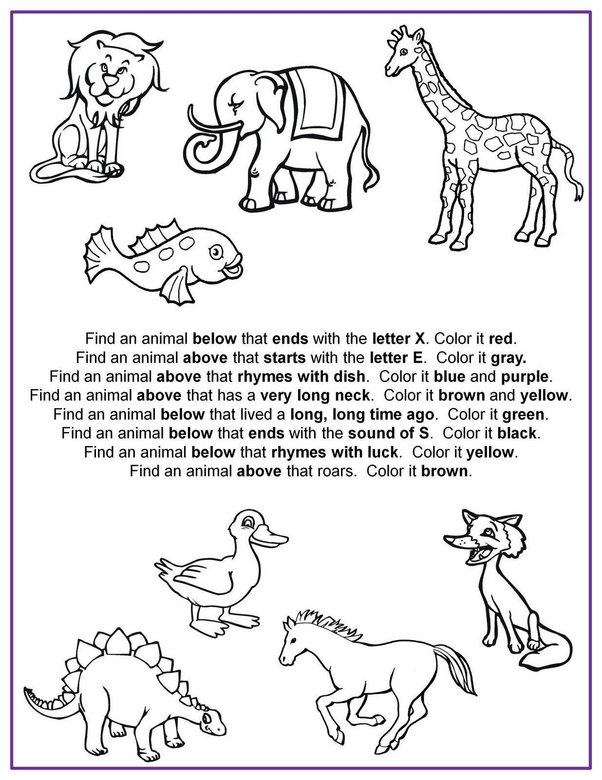 Find It Color It Following Directions Worksheet