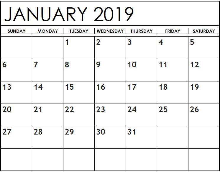 Editable january 2019 calendar