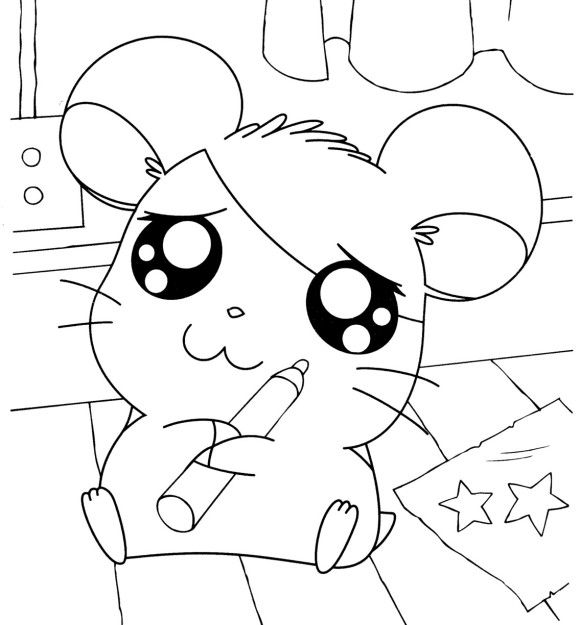 Hamtaro Holding Markers Hamtaro Coloring Pages Pinterest
