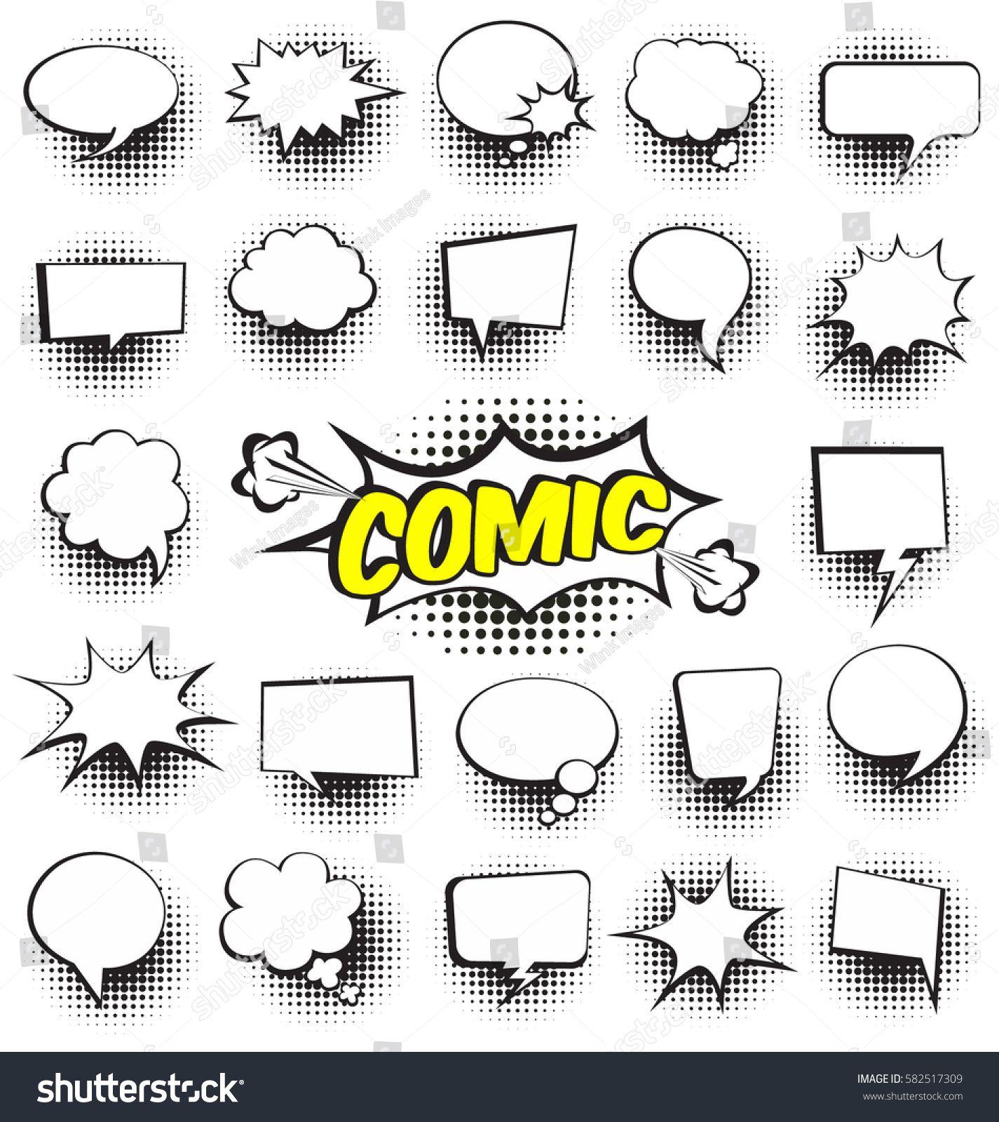 Big Set Of Cartoon Comic Speech Bubbles Empty Dialog