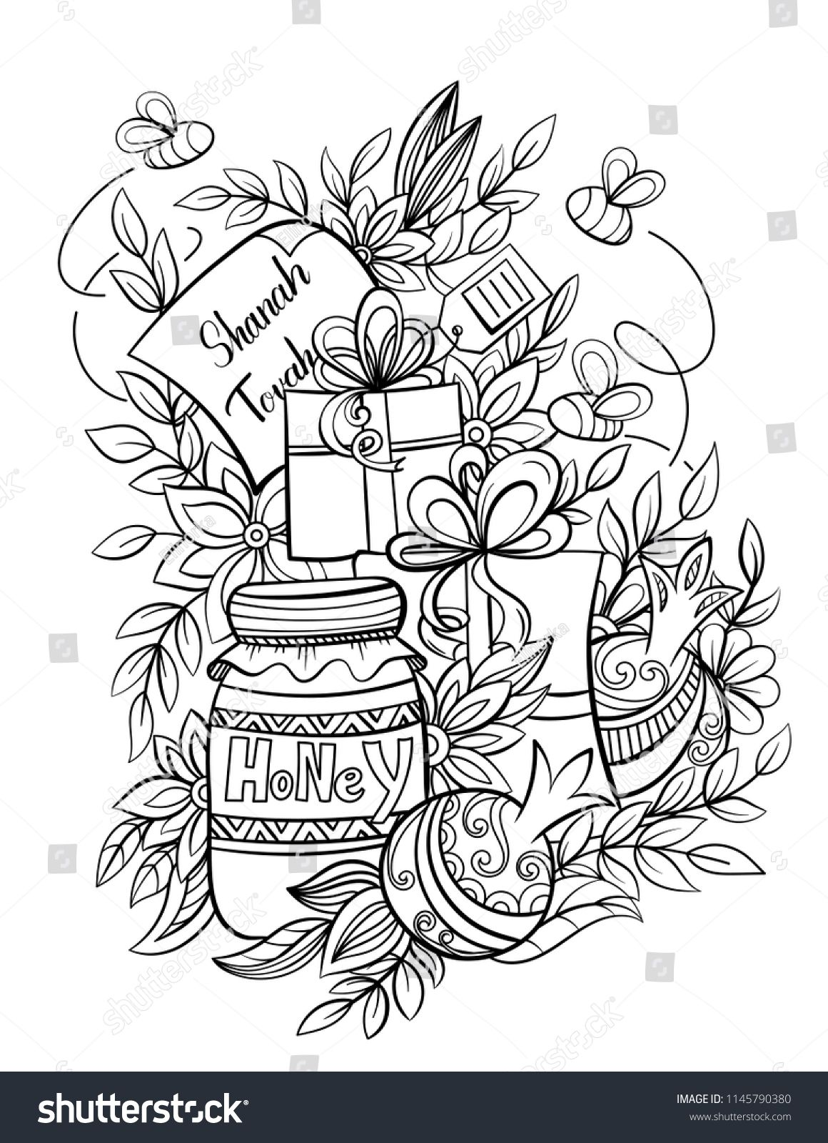 Rosh Hashanah Jewish New Year Coloring Page With Apples Honey Pomegranates And Holiday Gifts Black A Coloring Books Coloring Pages New Year Coloring Pages